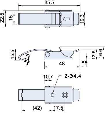 Zinc Plated Solid Arm Latch L= 86mm, CT-08302