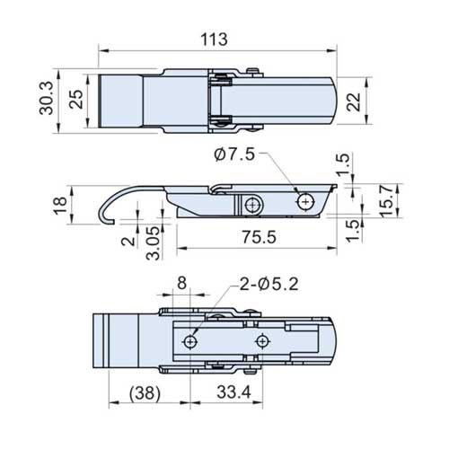 CT-00227-1 Zinc Plated Solid Arm Latch L= 113mm